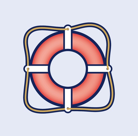 ring buoy: lifebuoy colored icon on blue background