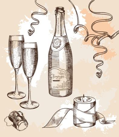 bouteille champagne: verre de champagne et un ensemble d'humeur festive de croquis