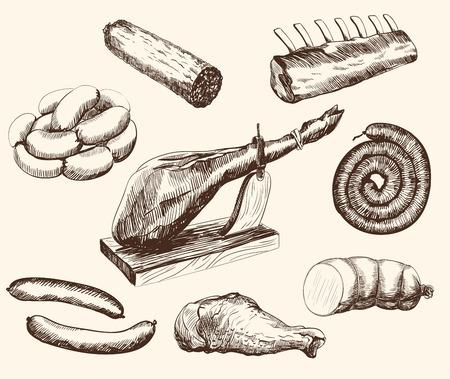 肉製品は白い背景の上ベクトル スケッチの設定します。