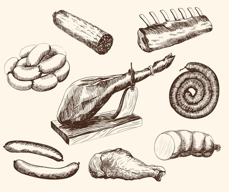 meat products set of vector sketches on a white background