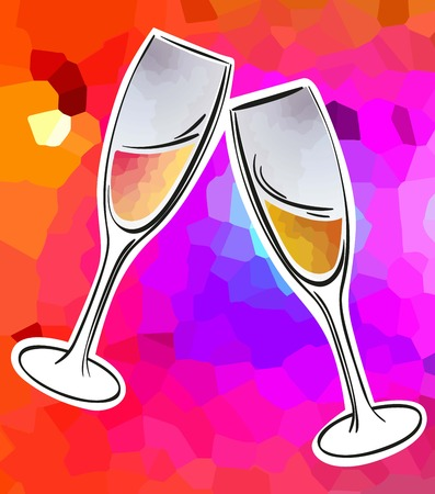 clink: two glasses clinked glasses with sparkling wine on a bright color background