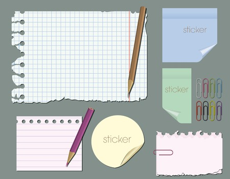 detachable: set of empty pieces of paper with pencils and paper clips on a gray background Illustration