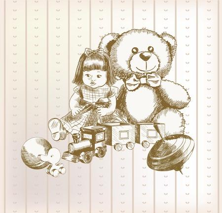 developmental: children toys set of vector sketches on vintage background wallpaper Illustration