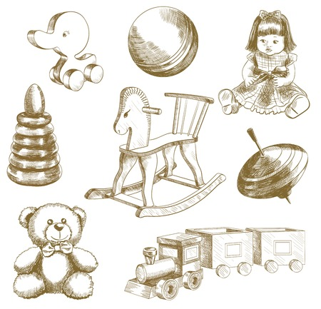 bruin: children toys set of vector sketches on a white background Illustration