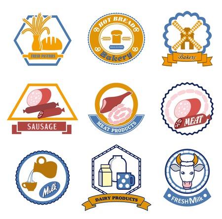 viveres: productos alimenticios de colores iconos del vector en el fondo blanco