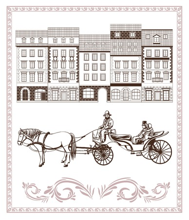 streetlight: driving through city streets and carriage with the driver and passengers Illustration