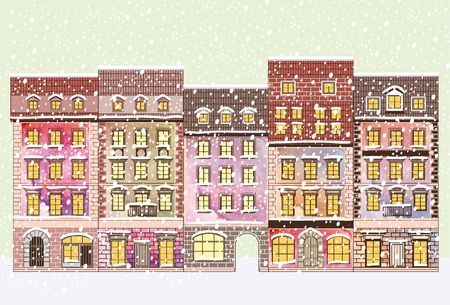 shops street: city street facades of buildings color vector illustration