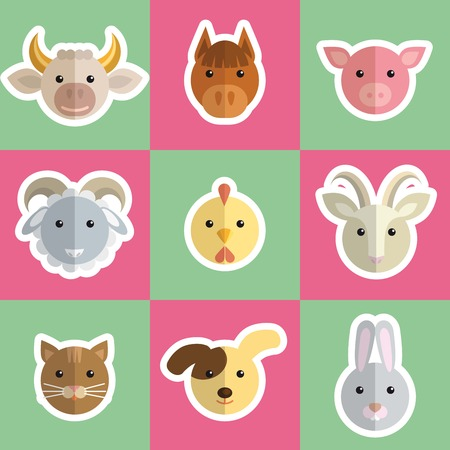 pigling: head of farm animals colored vector icons