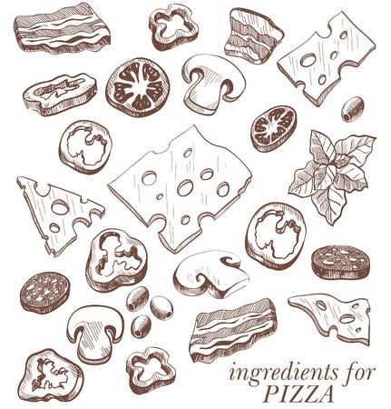 boceto: Ingredientes para la pizza conjunto de dibujos vectoriales sobre un fondo blanco Vectores