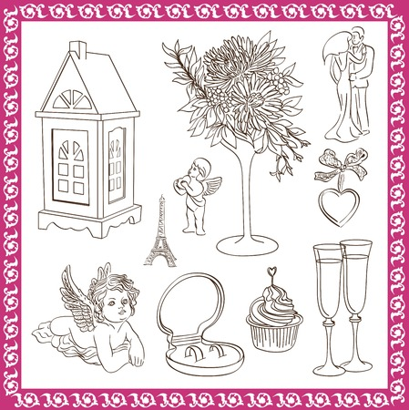 attributes: wedding attributes set of vector sketches on a white background