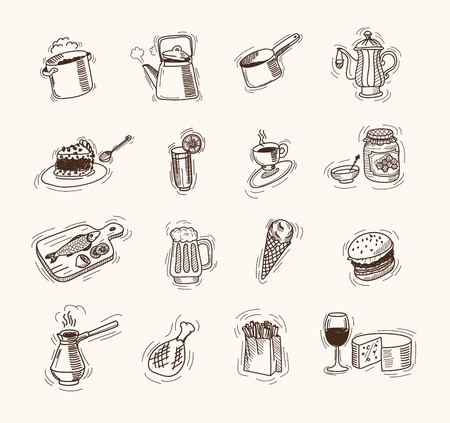 foodstuffs: foodstuffs set of vector sketches on a white background