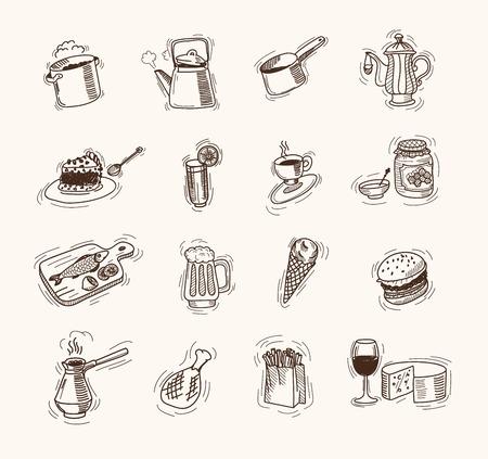 aliments: les denr�es alimentaires ensemble de dessins vectoriels sur un fond blanc