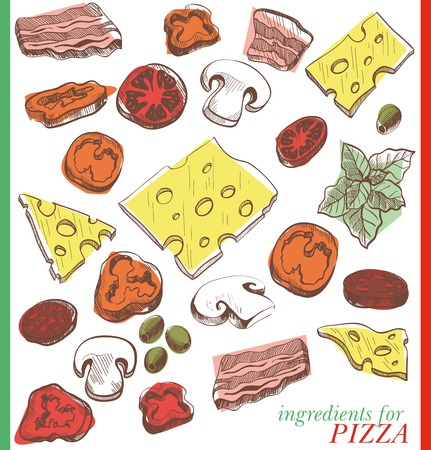 pizza ingredients: Ingredients for pizza set of vector sketches on a white background Illustration