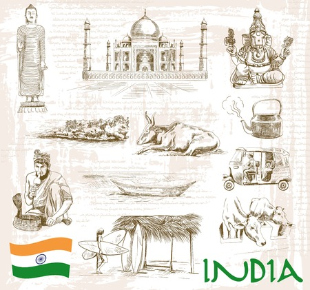 historic sites and attractions of India. handmade illustration