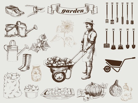 bailer: gardener harvests on his farm set of vector sketches on a gray background
