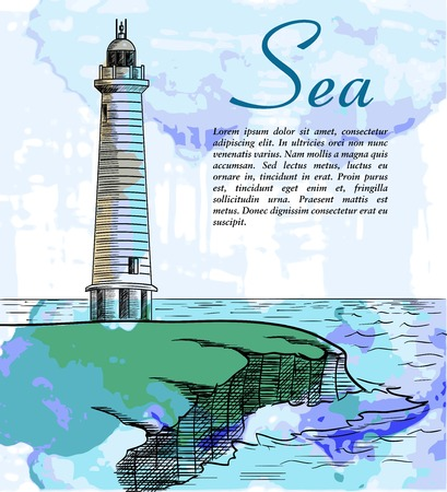 steep by steep: Lighthouse on a steep rocky shore vector color illustration