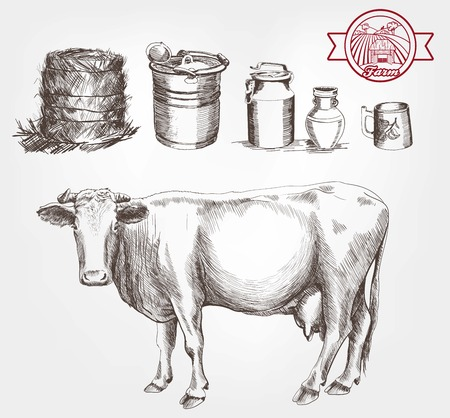 cows grazing: two cows and dairy products set of vector sketches on a white background