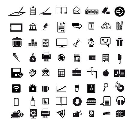 bedrijfseconomie kantoor set van 64 zwarte pictogrammen op een witte achtergrond Stock Illustratie