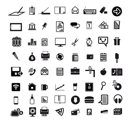 diskette: business economics office set of 64 black icons on white background Illustration