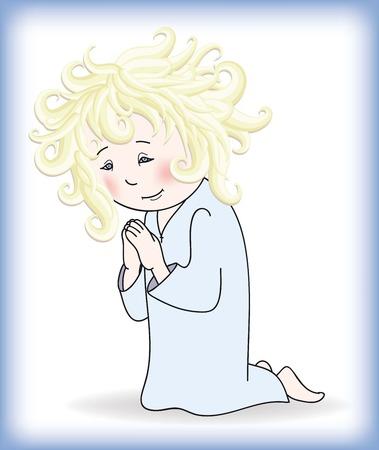 arrepentimiento: niña se encuentra delante de Dios en sus rodillas y reza