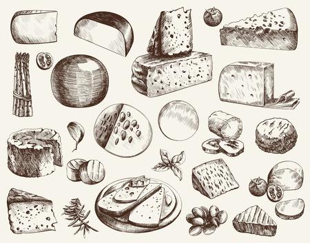 cheesemaking verschillende soorten kaas set van vector schetsen op een witte achtergrond Stock Illustratie