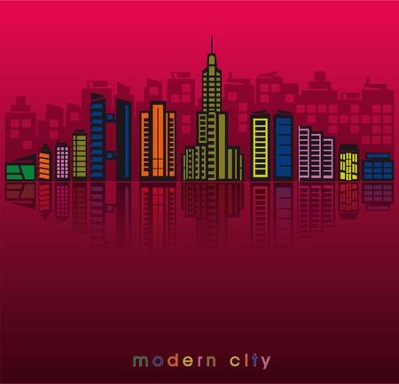 modern buildings: b�timents modernes et la silhouette d'une grande ville au coucher du soleil