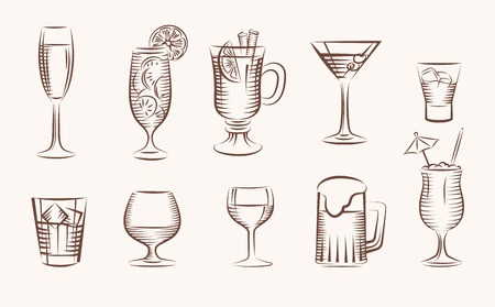 non alcoholic beer: beverages black vector icons on white background Illustration