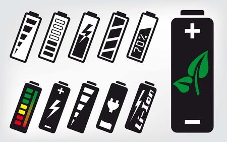 low battery: battery set of black icons on grey background Illustration