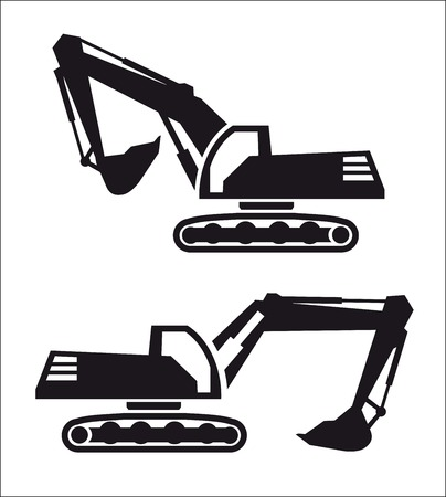 dredge to dig: excavator two black icons on white background