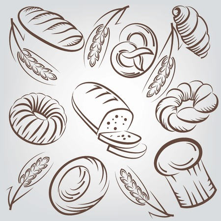 wheaten: Bread and bakery products vector sketches background Illustration