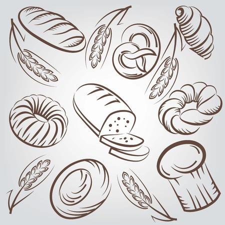 produits céréaliers: Pain et produits de boulangerie vecteur esquisse fond Illustration
