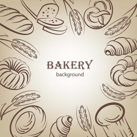isolated: Bread and bakery products sketches background
