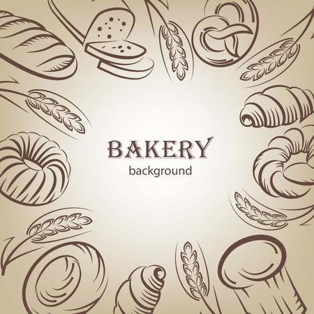 Brood en bakkerijproducten schetst achtergrond Stock Illustratie