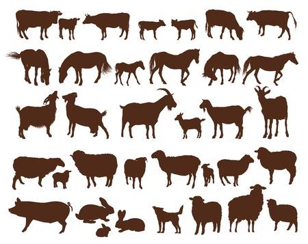 siluetas de animales: animales de granja. conjunto de iconos vectoriales sobre un fondo blanco