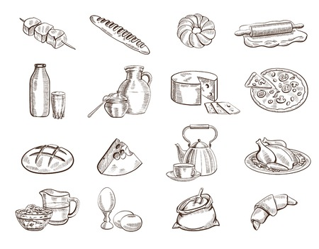 foodstuffs set of hand drawn vector sketches on a white background Vettoriali
