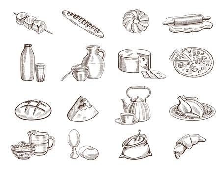 produits alimentaires: les denrées alimentaires ensemble de dessins vectoriels dessinés à la main sur un fond blanc