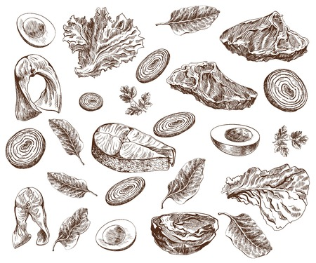 fish steak: foodstuffs set of hand drawn sketches on a white background