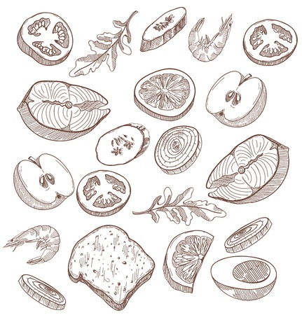 aliments: les denr�es alimentaires d�finies de croquis dessin�s � la main sur un fond blanc