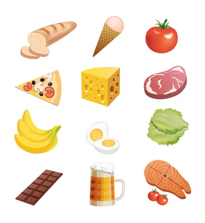 foodstuffs: foodstuffs set of colored icons on a white background Illustration