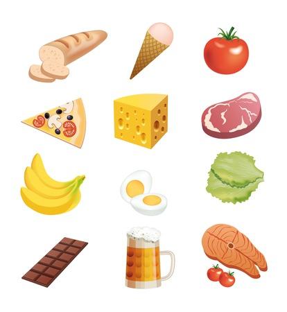viveres: productos alimenticios de conjunto de iconos de colores sobre un fondo blanco