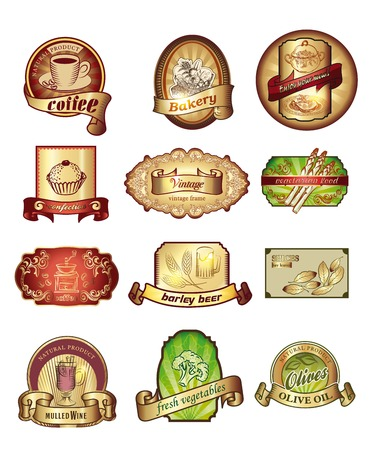 confections: Vintage labels set. Hand drawn illustrations. labels with sketches