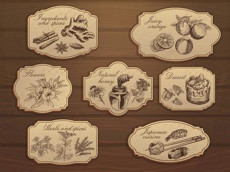 modern kitchen design: Vintage labels set Illustration