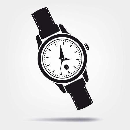 cronógrafo: icono de vectores reloj sobre un fondo gris