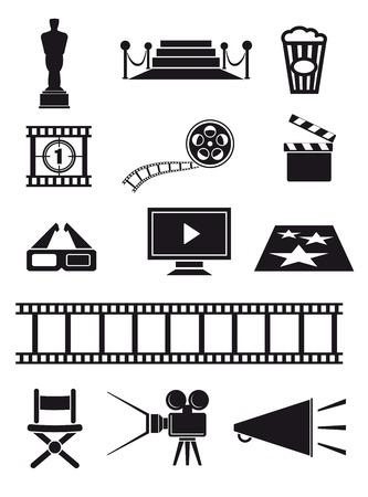 movie set: movie set of black icons on white background