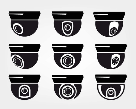 electronic security: surveillance camera set of black icons on white background