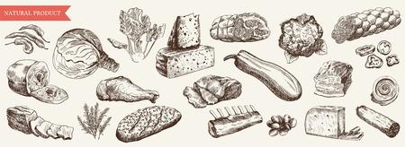 aliments: les denr�es alimentaires ensemble de dessins vectoriels dessin�s � la main sur un fond blanc