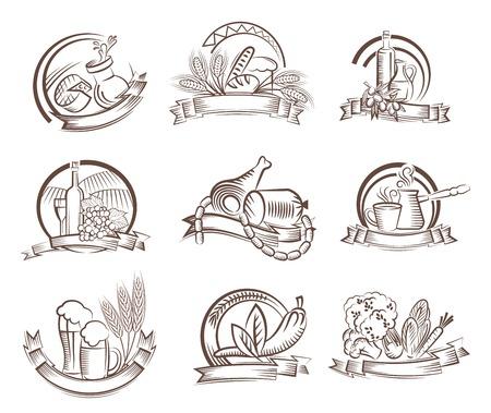 foodstuffs: foodstuffs vector black icon on white background Illustration