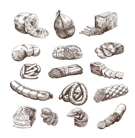 pork meat: meat products set of hand drawn vector sketches on a white background