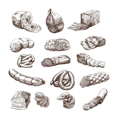 salchichas: productos c�rnicos conjunto de bocetos dibujados a mano vector sobre un fondo blanco