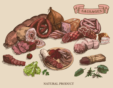 meat products set of hand drawn vector sketches on a grey background Stock Illustratie